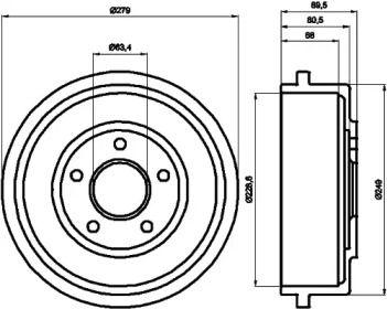 Тормозной барабан на Форд Транзит Конект 'TEXTAR 94024400'.