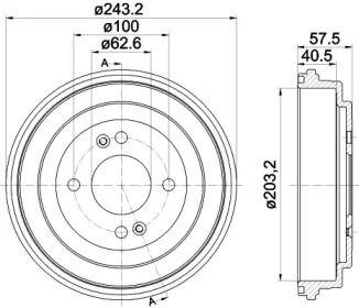 Тормозной барабан на HYUNDAI I20 'TEXTAR 94035900'.