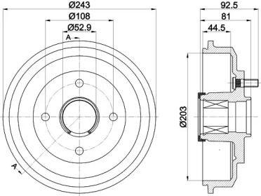 Тормозной барабан на Мазда 2 'TEXTAR 94041300'.