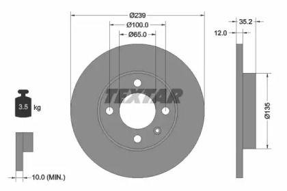 Тормозной диск на Ауди 80 'TEXTAR 92010603'.