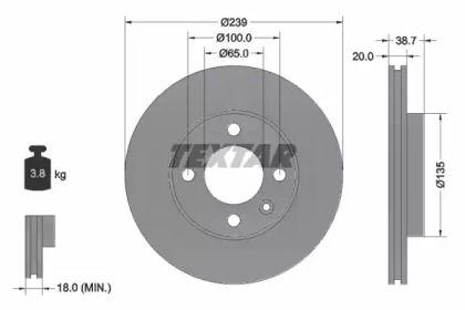 Вентилируемый тормозной диск на Фольксваген Поинтер 'TEXTAR 92012103'.