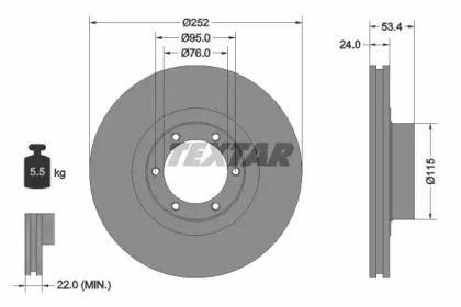 Вентилируемый тормозной диск на Опель Арена 'TEXTAR 92017203'.