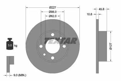 Тормозной диск на Фиат Фиорино 'TEXTAR 92019300'.
