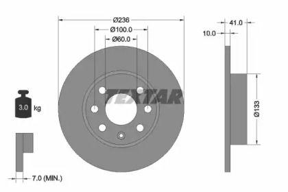 Тормозной диск 'TEXTAR 92020800'.