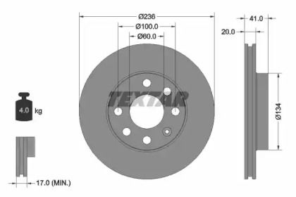 Вентилируемый тормозной диск 'TEXTAR 92029603'.