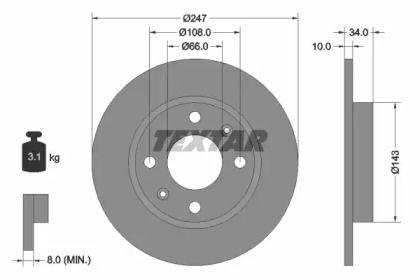 Тормозной диск на Ситроен Виза 'TEXTAR 92029803'.