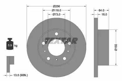 Тормозной диск на Ситроен С25 'TEXTAR 92034400'.