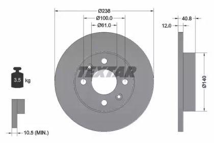 Тормозной диск на DACIA NOVA 'TEXTAR 92036103'.