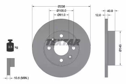 Тормозной диск на Рено Рапид 'TEXTAR 92036103'.