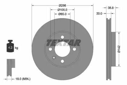 Вентилируемый тормозной диск на VOLKSWAGEN POINTER 'TEXTAR 92036803'.