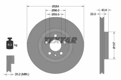 Вентилируемый тормозной диск на Альфа Ромео 147 'TEXTAR 92046803'.