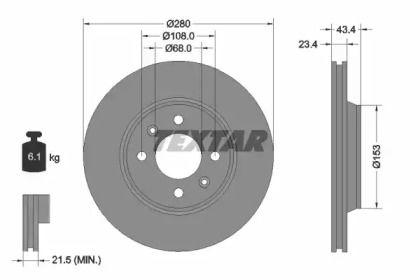 Вентилируемый тормозной диск на SAAB 9000 'TEXTAR 92048400'.