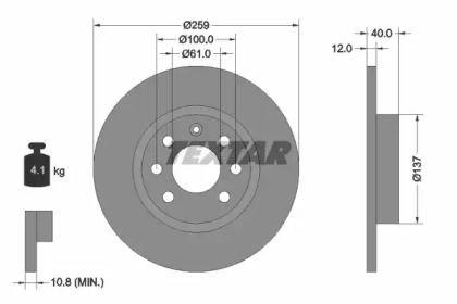 Тормозной диск на VOLVO 480 'TEXTAR 92050600'.