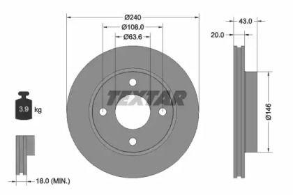 Вентилируемый тормозной диск на FORD COURIER 'TEXTAR 92051003'.