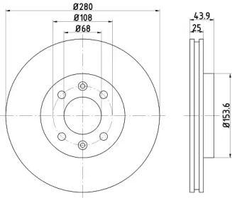 Вентилируемый тормозной диск на Сааб 9000 'TEXTAR 92053800'.