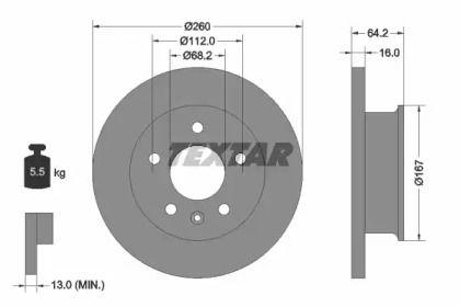 Тормозной диск на Фольксваген Комби 'TEXTAR 92055900'.