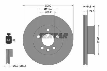 Вентилируемый тормозной диск на VOLKSWAGEN KOMBI 'TEXTAR 92056000'.