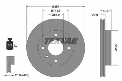 Вентилируемый тормозной диск на INFINITI G20 'TEXTAR 92056300'.