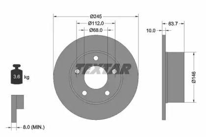 Тормозной диск 'TEXTAR 92057503'.