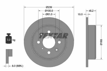 Тормозной диск на Хонда Концерто 'TEXTAR 92060800'.