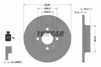 Тормозной диск на Альфа Ромео 33 'TEXTAR 92061103'.
