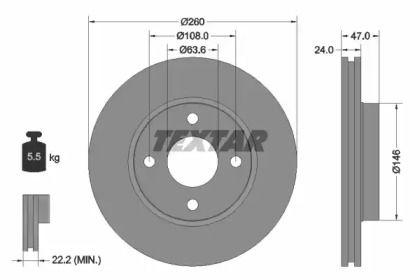 Вентилируемый тормозной диск на Форд Кугар 'TEXTAR 92063503'.