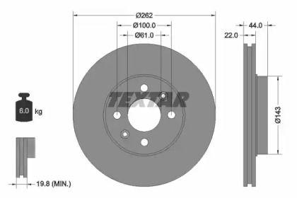 Вентилируемый тормозной диск на RENAULT SAFRANE 'TEXTAR 92064803'.
