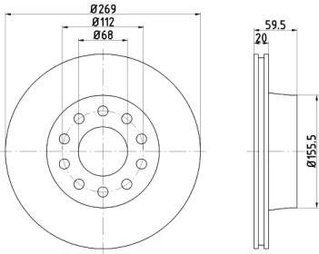 Перфорированный тормозной диск на Ауди В8 'TEXTAR 92068400'.