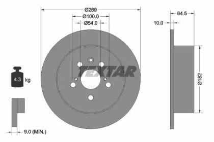 Тормозной диск на Тайота Корона 'TEXTAR 92070800'.