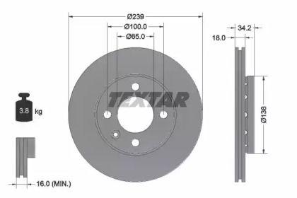 Перфорированный тормозной диск на VOLKSWAGEN GOL 'TEXTAR 92072003'.