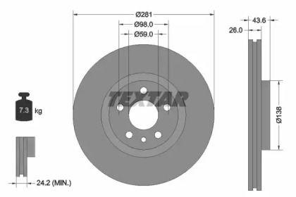 Вентилируемый тормозной диск на Лянча Зета 'TEXTAR 92074003'.