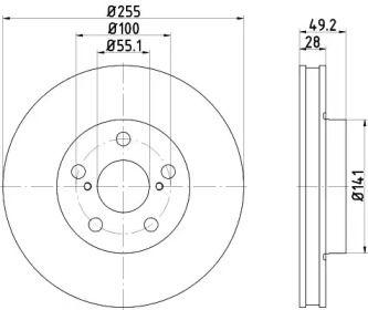 Вентилируемый тормозной диск на TOYOTA CORONA 'TEXTAR 92077500'.