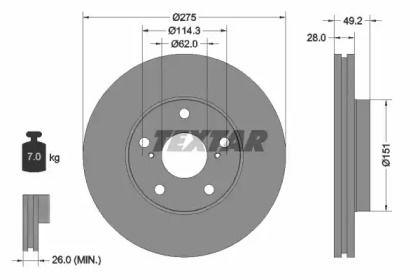 Вентилируемый тормозной диск на Тайота Марк 'TEXTAR 92077703'.