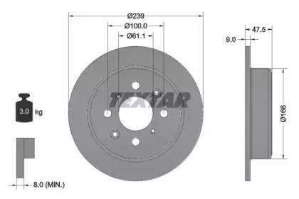 Тормозной диск на HONDA BEAT 'TEXTAR 92077903'.