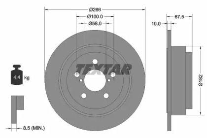 Тормозной диск на SAAB 9-2X 'TEXTAR 92082000'.