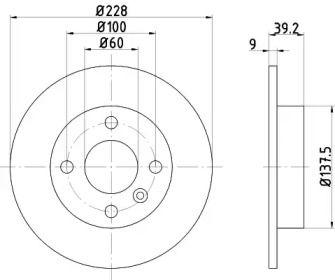 Тормозной диск на Вольво 480 'TEXTAR 92082800'.