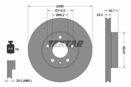 Вентилируемый тормозной диск на Фольксваген Комби 'TEXTAR 92083805'.