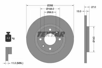 Тормозной диск 'TEXTAR 92089103'.