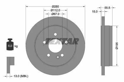 Тормозной диск на MERCEDES-BENZ M-CLASS 'TEXTAR 92090003'.