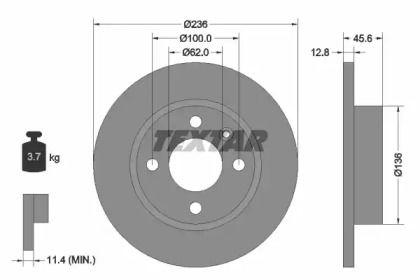 Тормозной диск на SKODA FELICIA 'TEXTAR 92090200'.