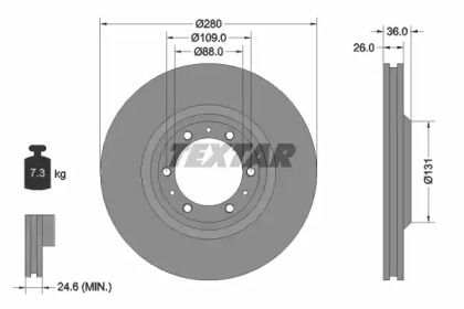 Вентилируемый тормозной диск на ISUZU VEHICROSS 'TEXTAR 92091400'.