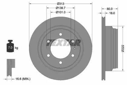 Вентилируемый тормозной диск на Исузу Вехикросс 'TEXTAR 92091600'.