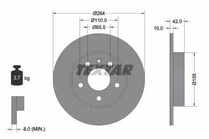 Тормозной диск 'TEXTAR 92092103'.