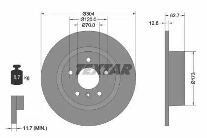 Тормозной диск на Рендж Ровер 'TEXTAR 92095203'.