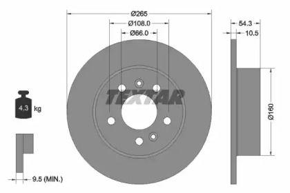 Тормозной диск на Рено Авантайм 'TEXTAR 92096300'.