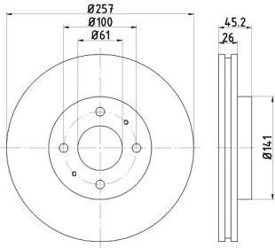 Вентилируемый тормозной диск на Ниссан Санни 'TEXTAR 92096700'.