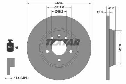 Тормозной диск на VOLKSWAGEN KOMBI 'TEXTAR 92098103'.
