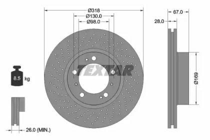 Тормозной диск на Порше 911 'TEXTAR 92099903'.