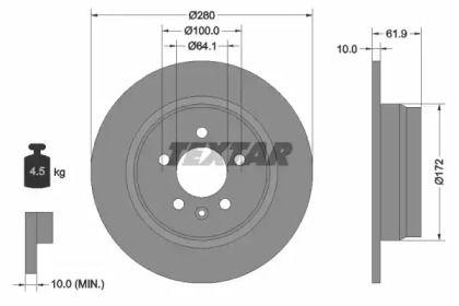 Тормозной диск на ROVER 75 'TEXTAR 92103500'.