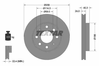 Вентилируемый тормозной диск на MITSUBISHI SIGMA 'TEXTAR 92103903'.